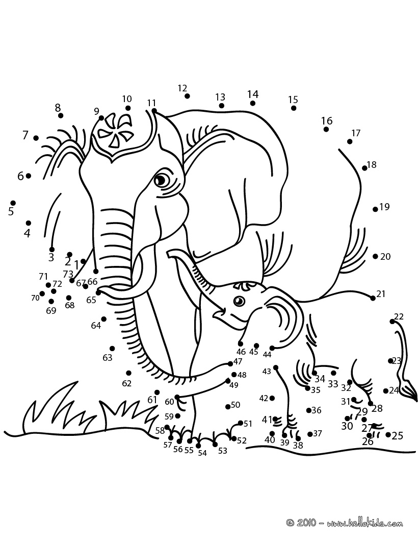 820x1060 Elephants Dot To Dot Game