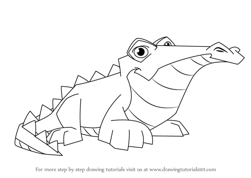 800x566 Learn How To Draw Crocodile From Animal Jam (Animal Jam) Step By