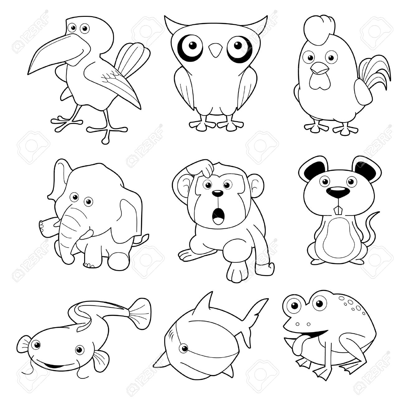1300x1300 Illustration Of Animals Set Vector Outline Royalty Free Cliparts