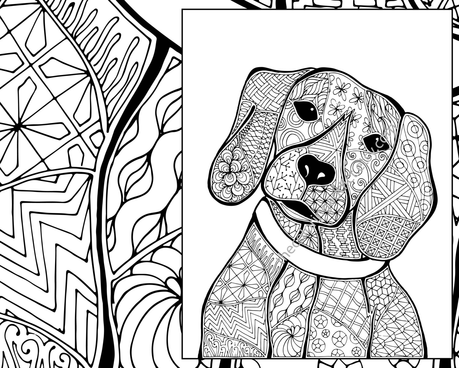 1500x1203 Zentangle Dog Colouring Page Animal