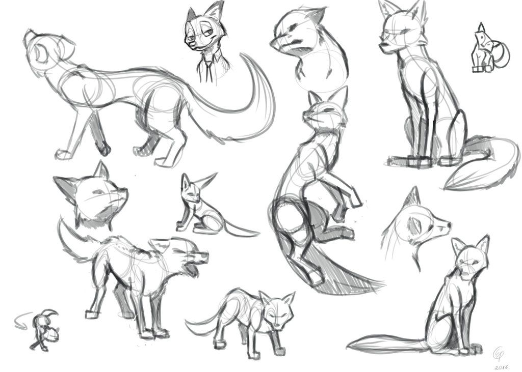 1024x731 Fox Sketches By On @ Nursery