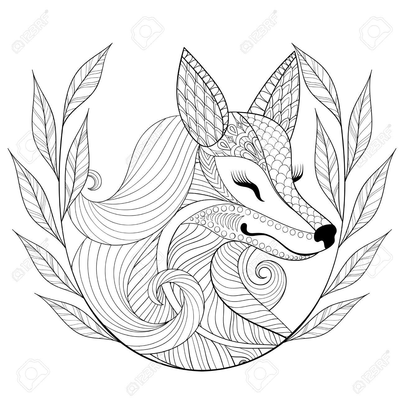 1299x1300 Fox Face In Monochrome Doodle Style.wild Animal With Wreath, Face