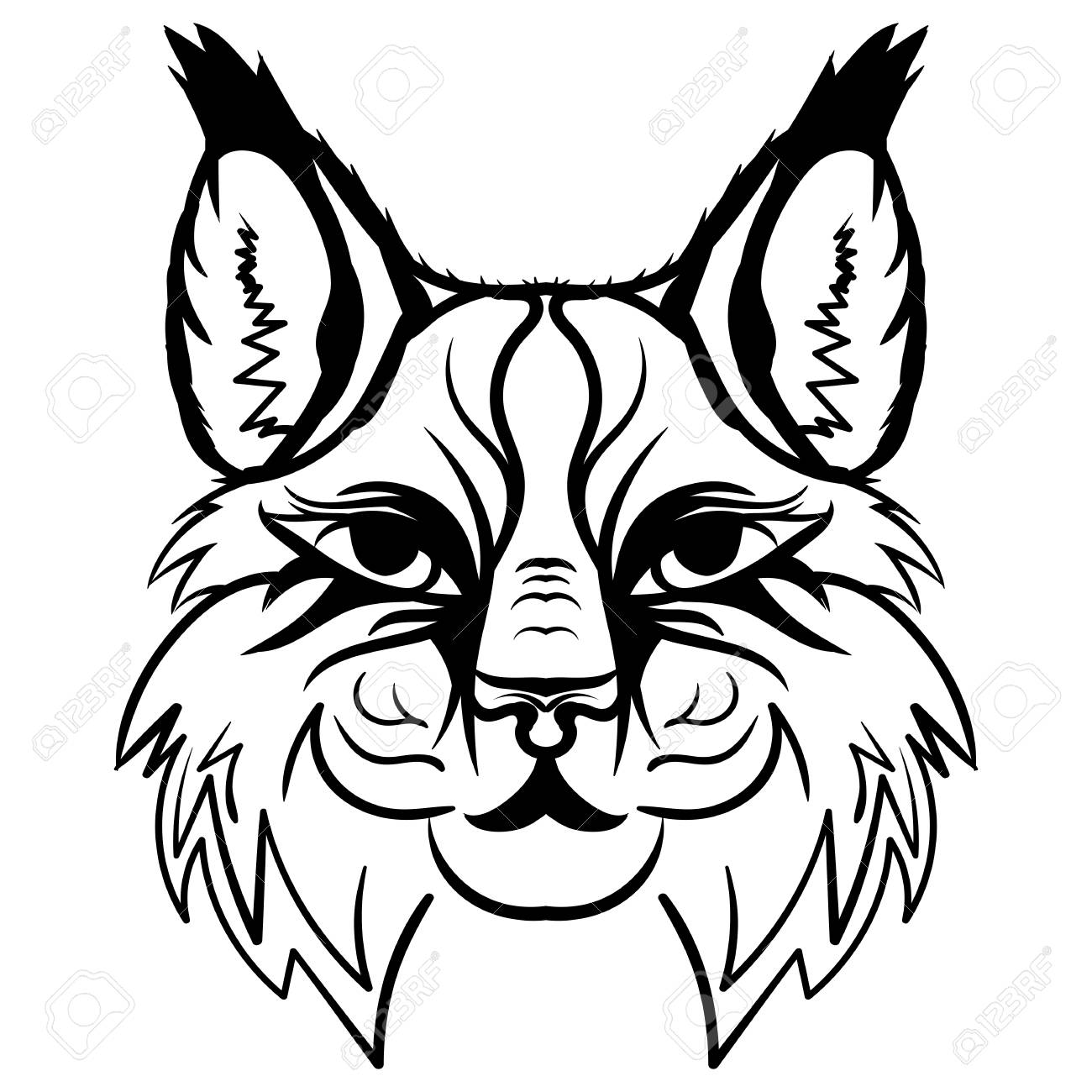 1300x1300 Hand Drawn Lynx Head Animal Isolated. Doodle Line Graphic Design