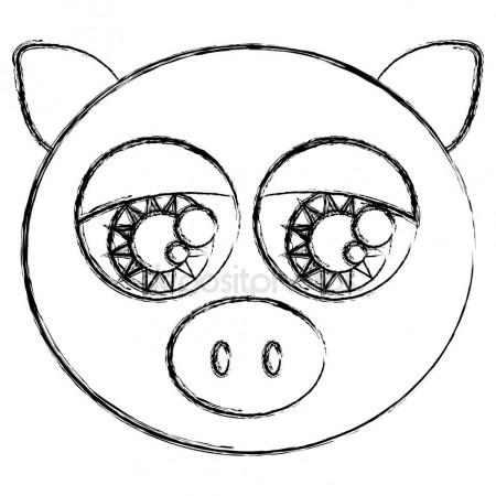 450x450 Blurred Sketch Silhouette Face Cute Pig Animal With Big Eyes
