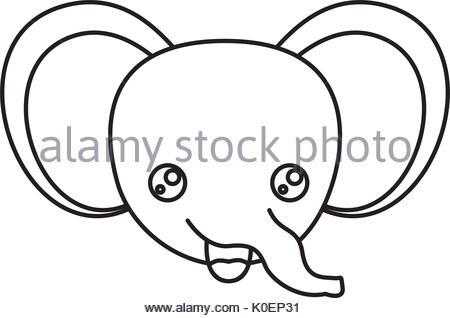 450x318 Drawing Elephant Kawaii Face Animal Stock Vector Art