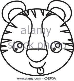 300x330 Drawing Tiger Kawaii Face Animal Stock Vector Art Amp Illustration