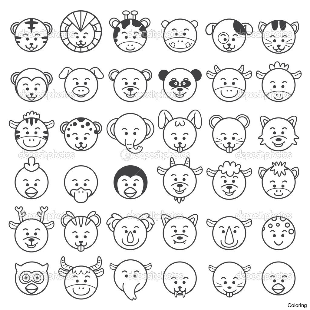 1024x1024 Easy To Draw Animal Faces Icon Illustration Of Stock Photo