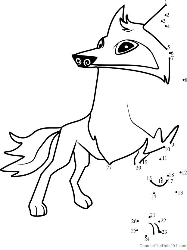 621x830 Arctic Wolf Animal Jam Dot To Dot Printable Worksheet