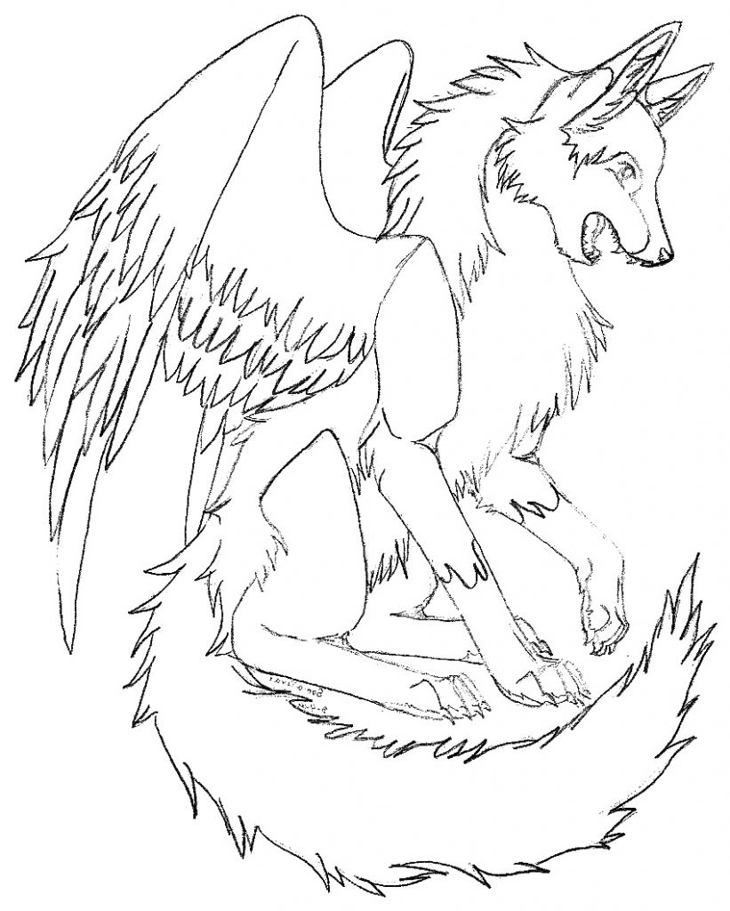 821x1024 Winged Wolf Coloring Pages
