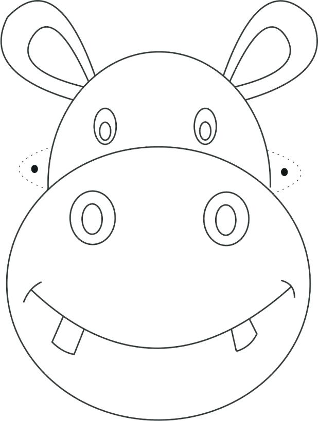 618x820 Baby Hippo Coloring Pages Free Printable Animal Masks Templates