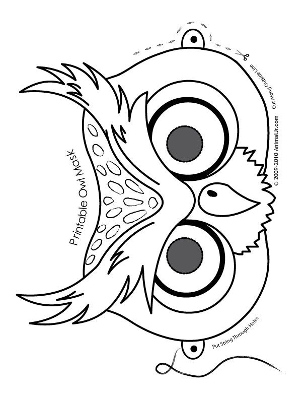 612x792 O Is For Owl Cute Printable Halloween Animal Paper Masks Owl Mask
