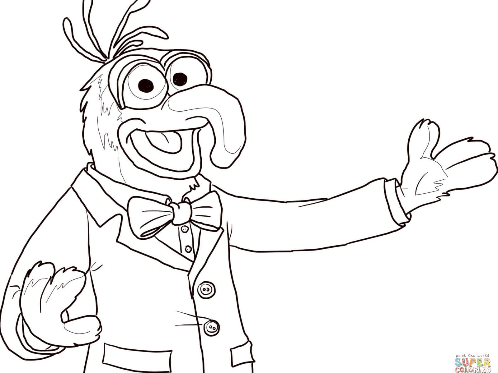 1600x1200 Muppets Coloring Page For Kids Playing Drum Printable Muppet Pages