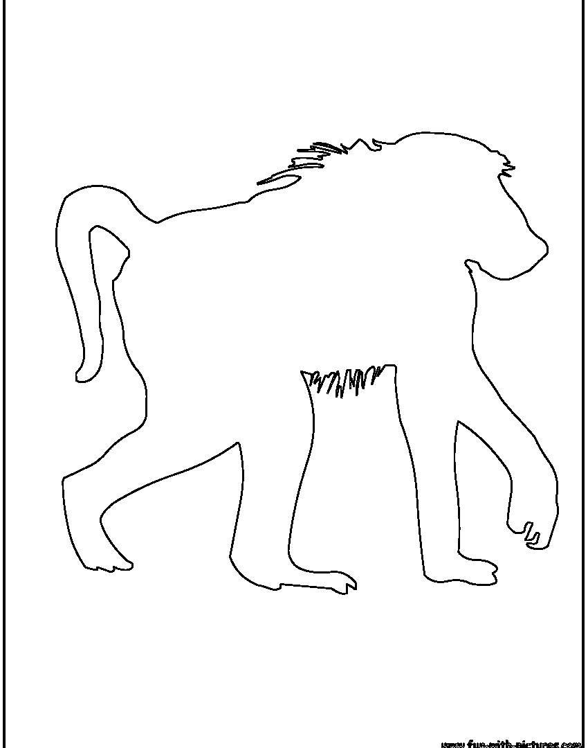 850x1080 Cartoon Black And White Friendly Baboon Monkey Coloring Pages