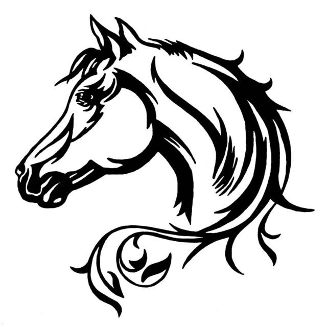 640x640 2020cm Horse Head Beautiful Animal Pattern Vinyl Car Body
