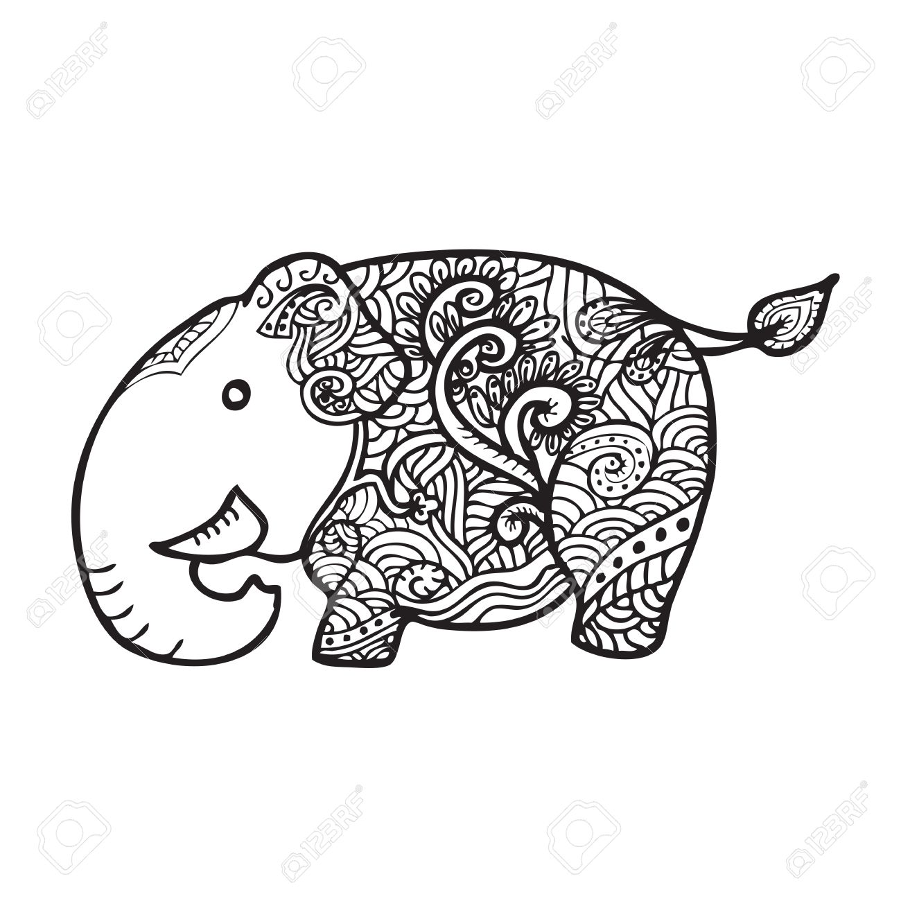 1300x1300 Elephant Pattern Line Drawing Vector Royalty Free Cliparts