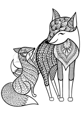 315x450 Hand Drawn Fox With Young Child Pattern For Adult Coloring Page