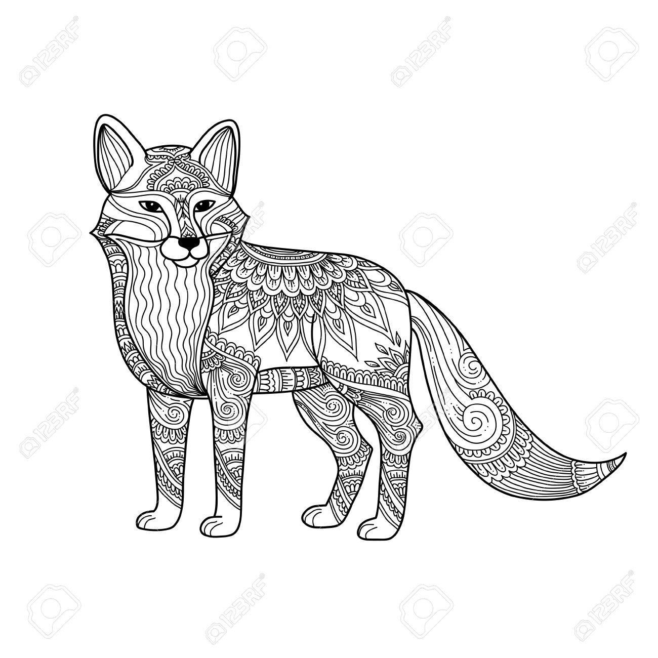 1300x1300 Stylized Fox In Doodles. Pattern Style Zentangle. Vector Sketch