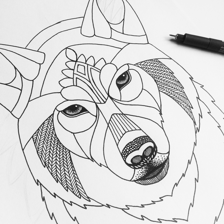 2448x2448 Zentangle Wolf Template