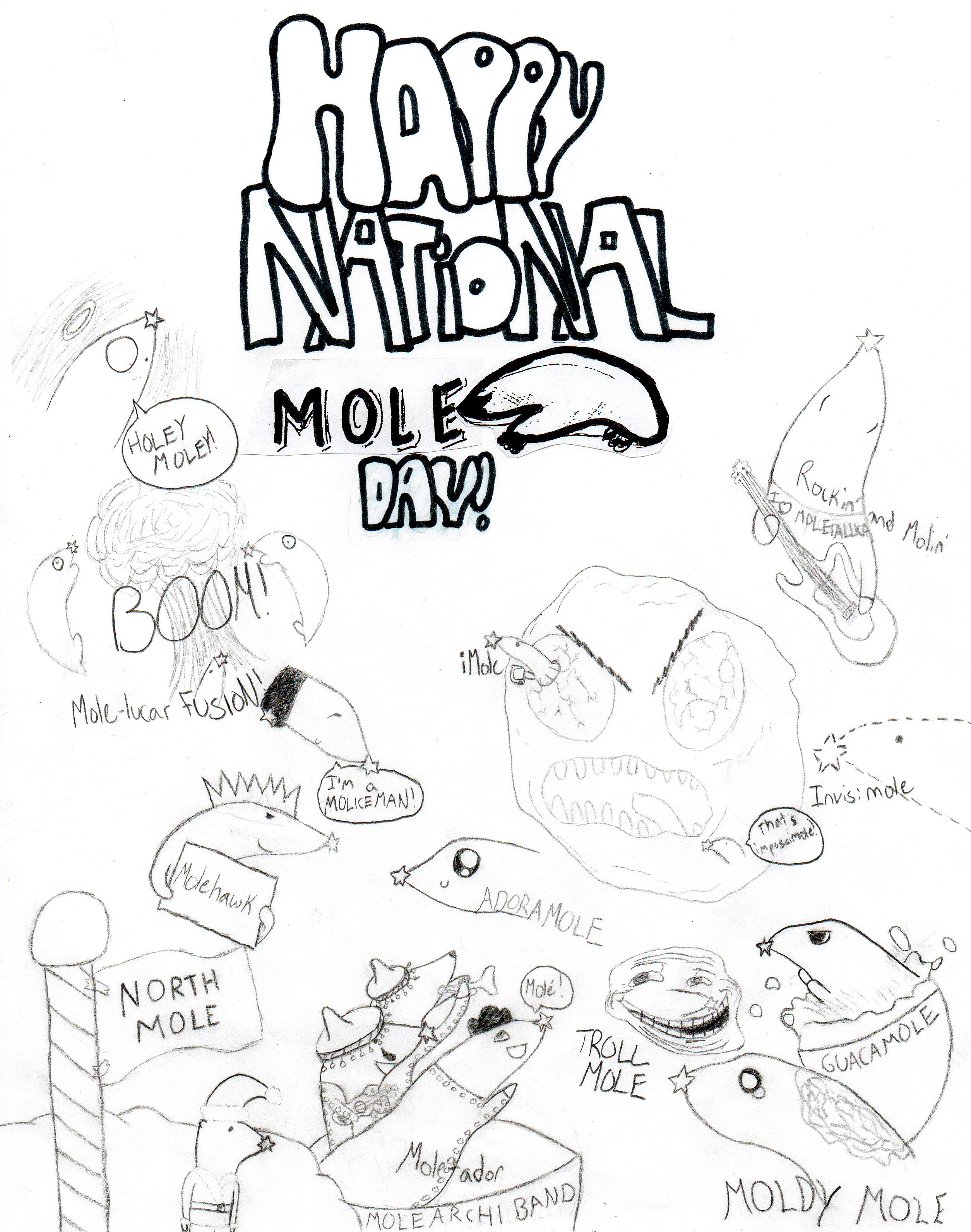 2509x3183 Mole Animal Pattern Free Draw To Color