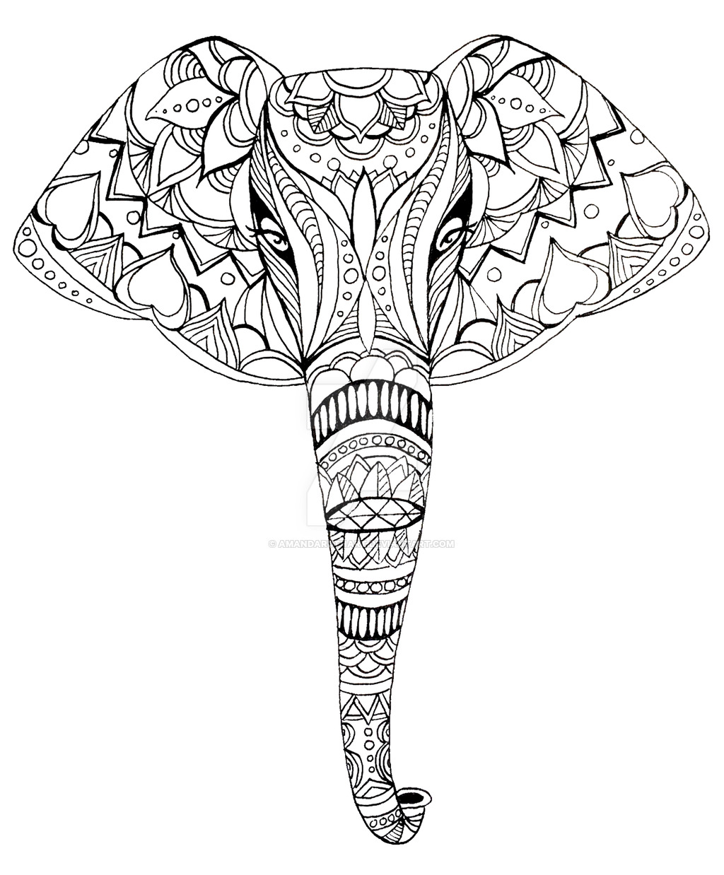 1024x1238 Patterned Elephant Ink Drawing By Amandaruthart