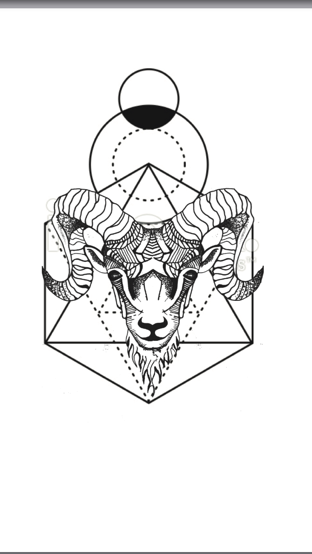 640x1136 Geometric Animal Tattoo Aries Ram