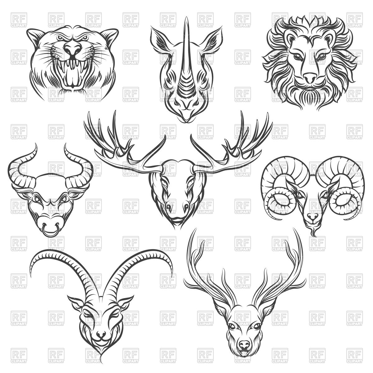 1200x1200 Set Of Wild Animals Heads