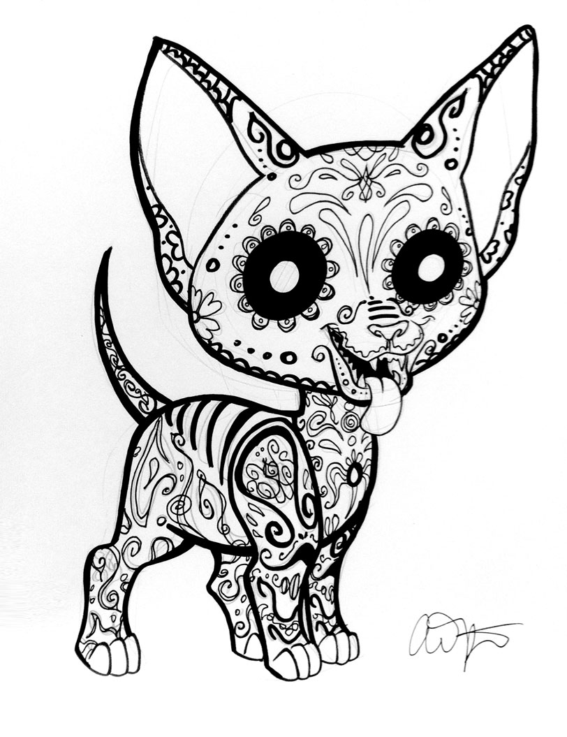 812x1055 Sugar Skull Animal Coloring Pages