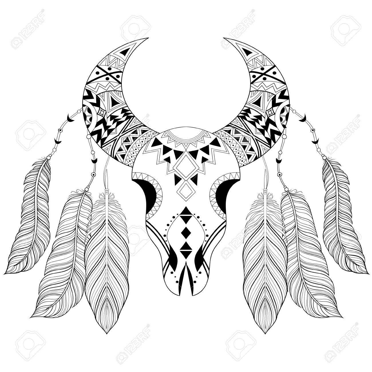 1300x1300 Zentangle Boho Animal Skull With Bird Feathers. American Ethnic