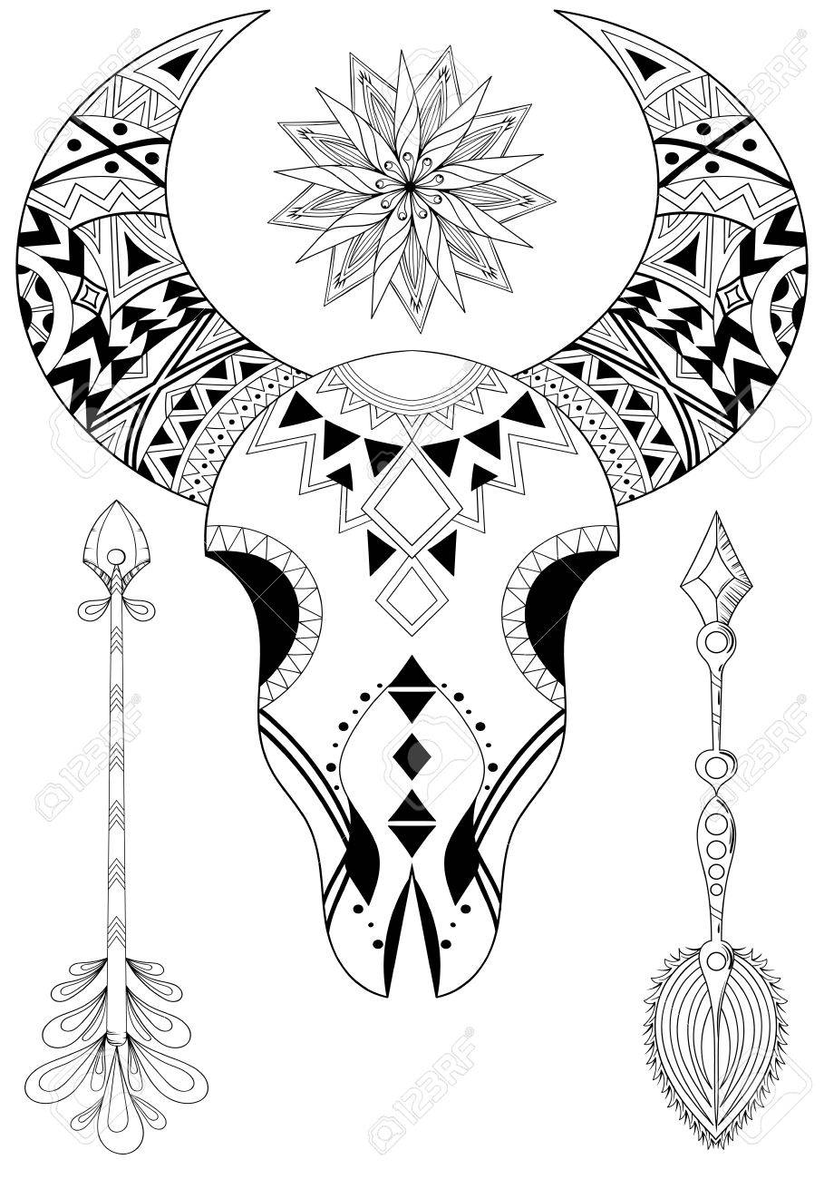 909x1300 Animal Skull With Sun And Arrows. Hand Drawn Ethnic Tattoo