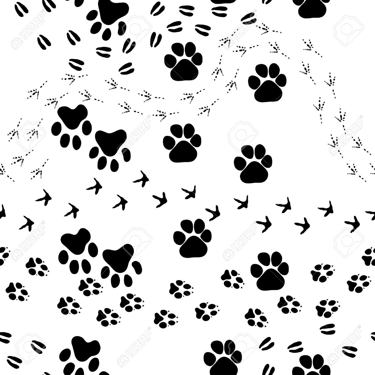 1300x1300 Animal Footprint Seamless Pattern. For Easy Making Seamless