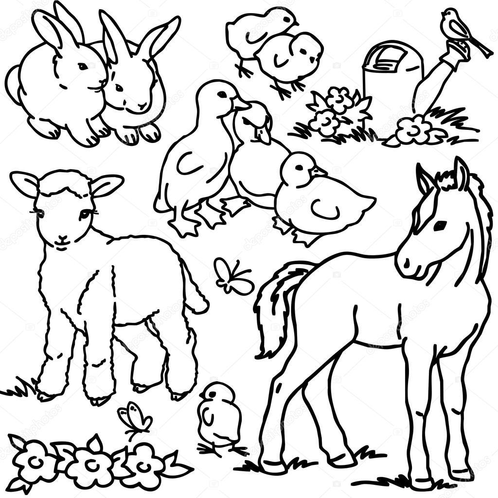 1024x1024 Coloring Book, Cartoon Farm Animals, Vegetables, Fruits