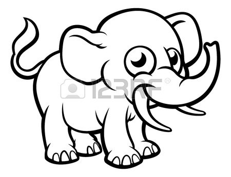 450x346 Elephant Playing With Water Cartoon Character Royalty Free