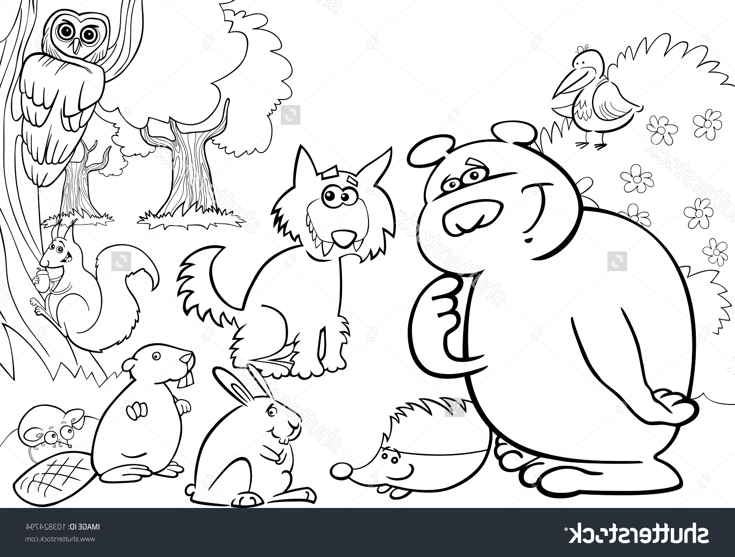 1500x1136 Forest And Animals Drawing Line Forest And Animals Drawing Line
