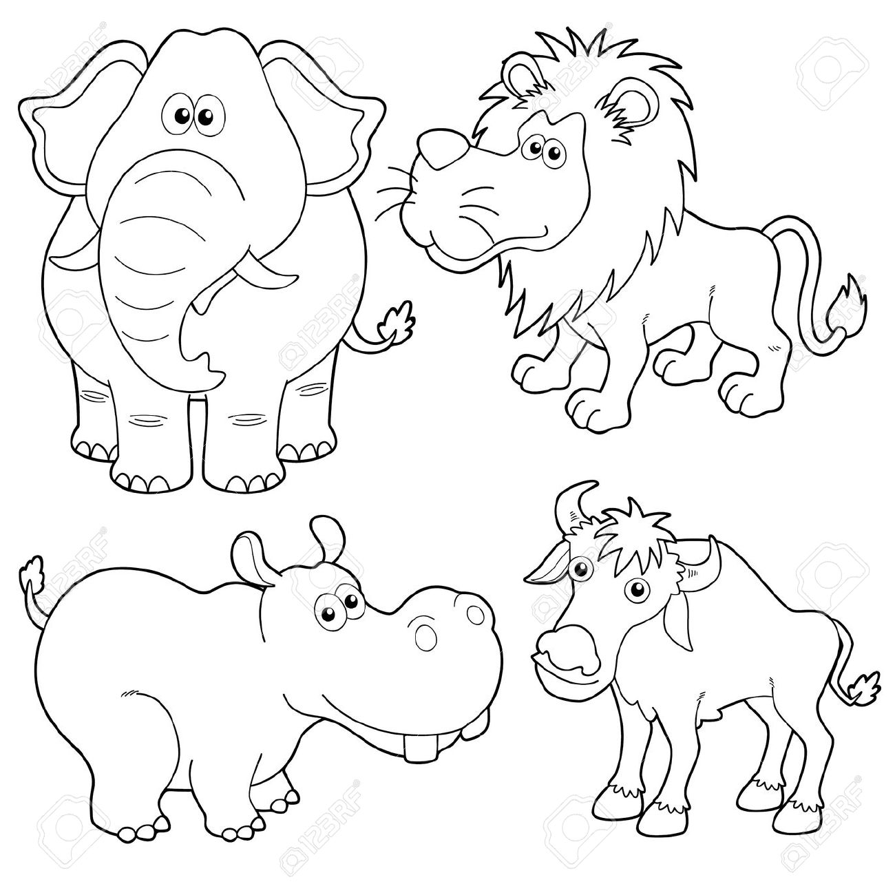 Line Drawings Of Jungle Animals : Realistic animals drawing at getdrawings free for