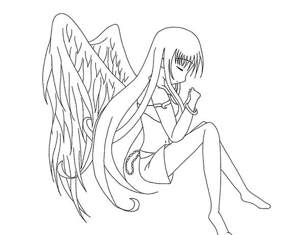 600x463 Anime Angel Coloring Pages Cartoon Download