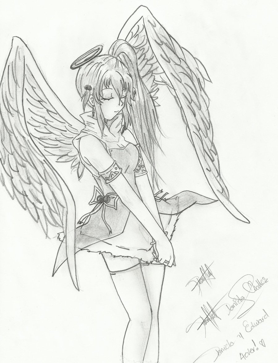 900x1176 Anime Angel Drawings Angel Girl Animedaniliov