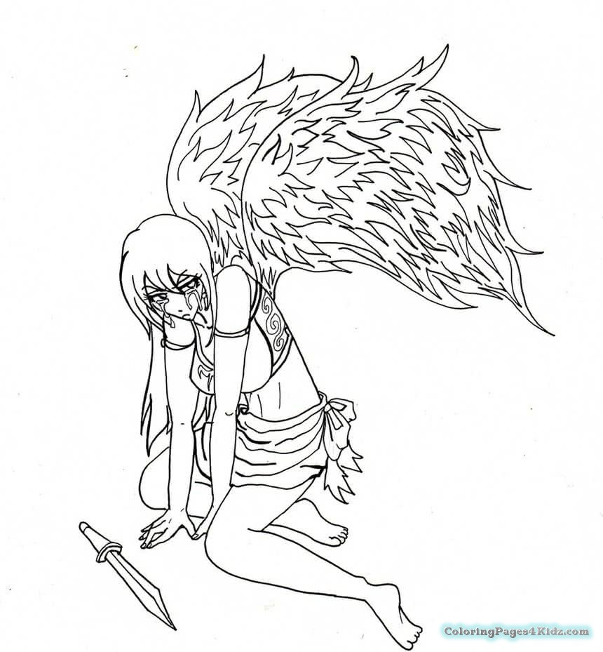 860x929 Angel And Devil Anime Coloring Pages Coloring Pages For Kids