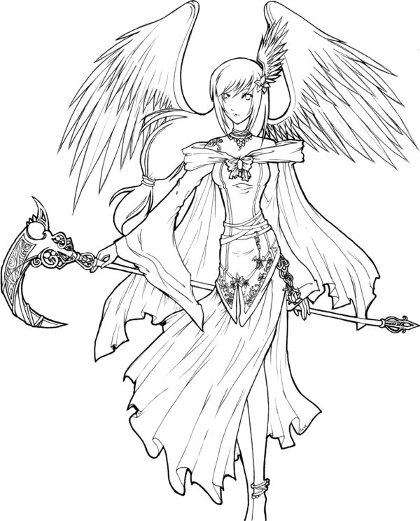 600x744 Angel Of Death Lineart By Xxkawaiitwiggee