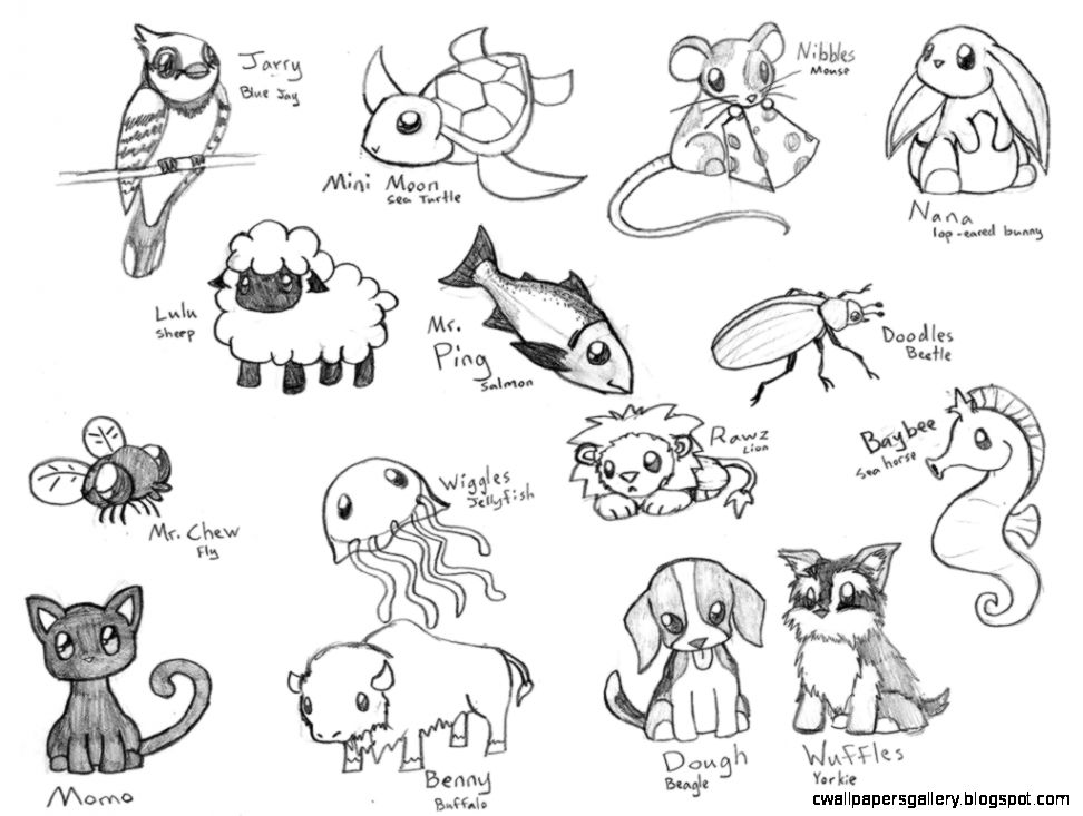 972x733 Cute Anime Animal Drawings