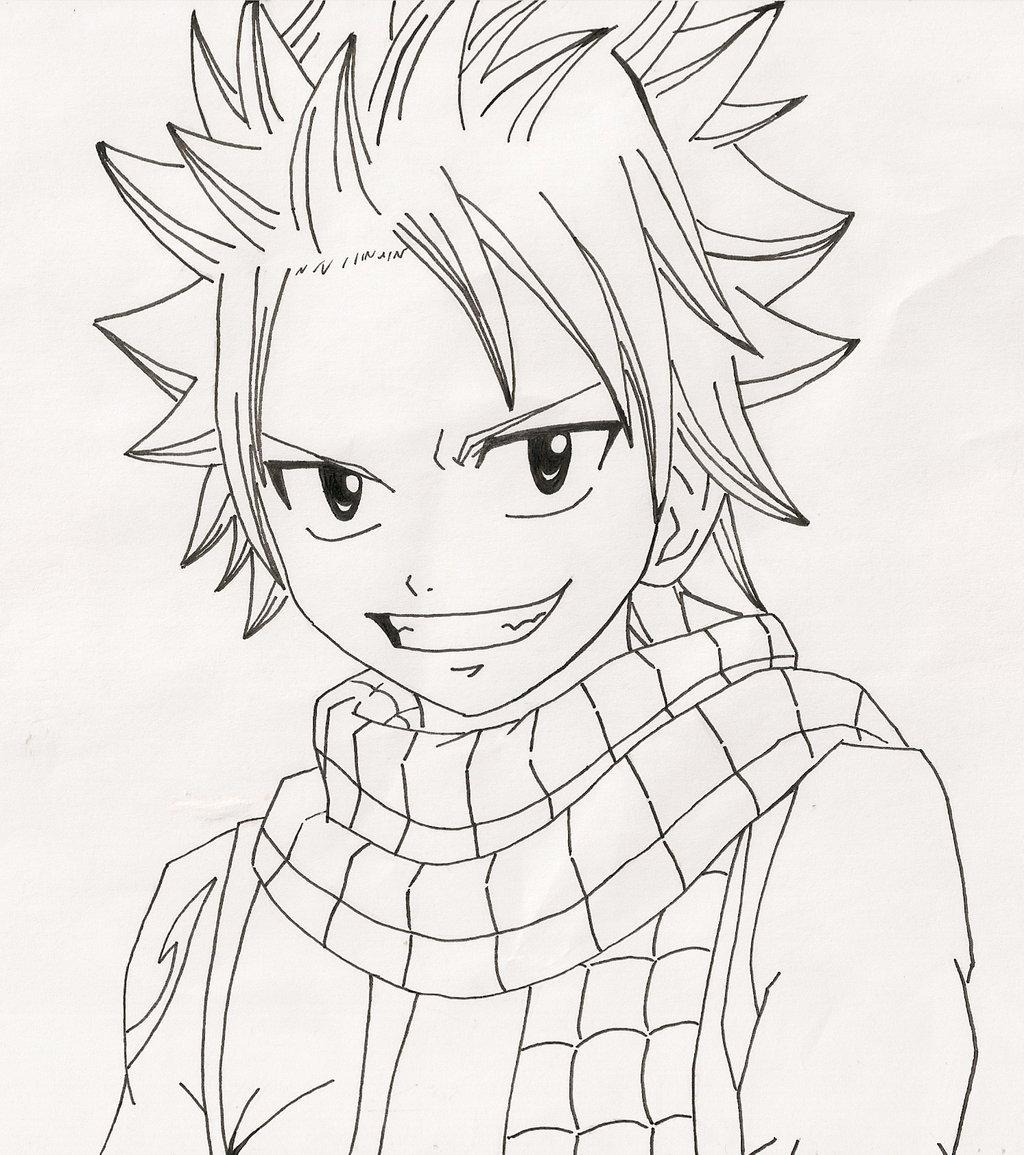 1024x1155 Natsu Dragneel Line Art By Anime4life Nyan