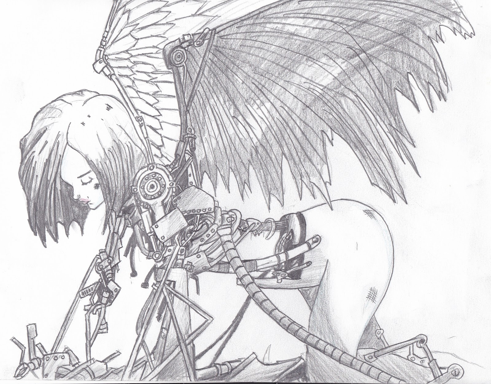 1600x1251 Anime Fight Pencil Art
