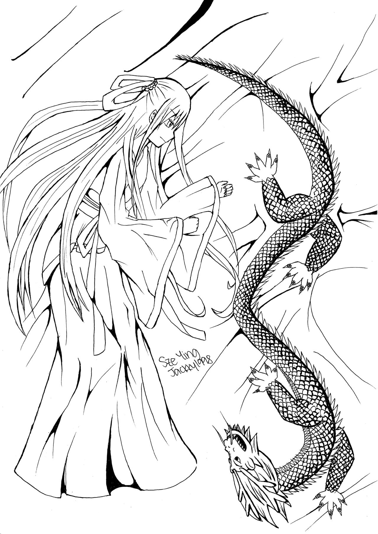 1280x1810 The Girl And The Dragon (Animemanga Line Art) By Aoi Kanou