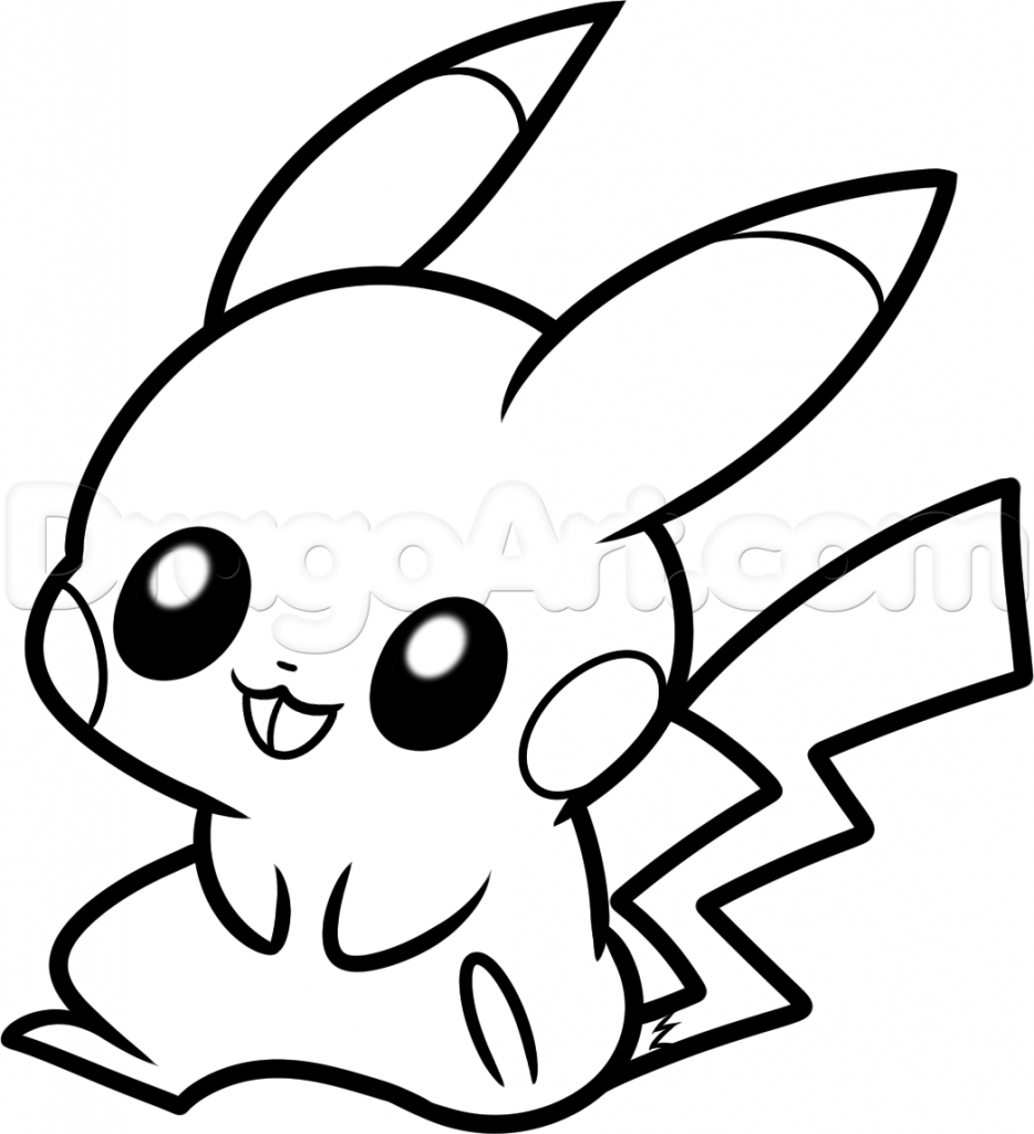 934x1024 Cute Pikachu Drawing How To Draw Baby Pikachu, Stepstep, Pokemon