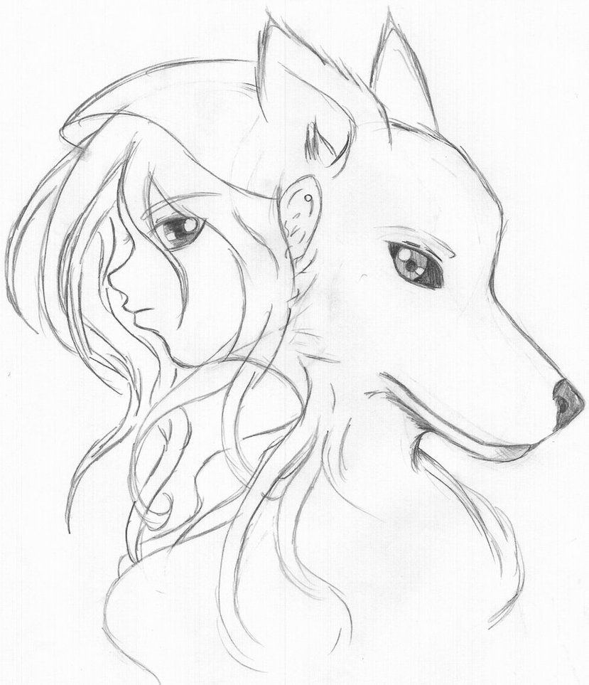 829x963 Drawing Baby Wolf Drawing Easy With Wolf Girl Drawing Easy