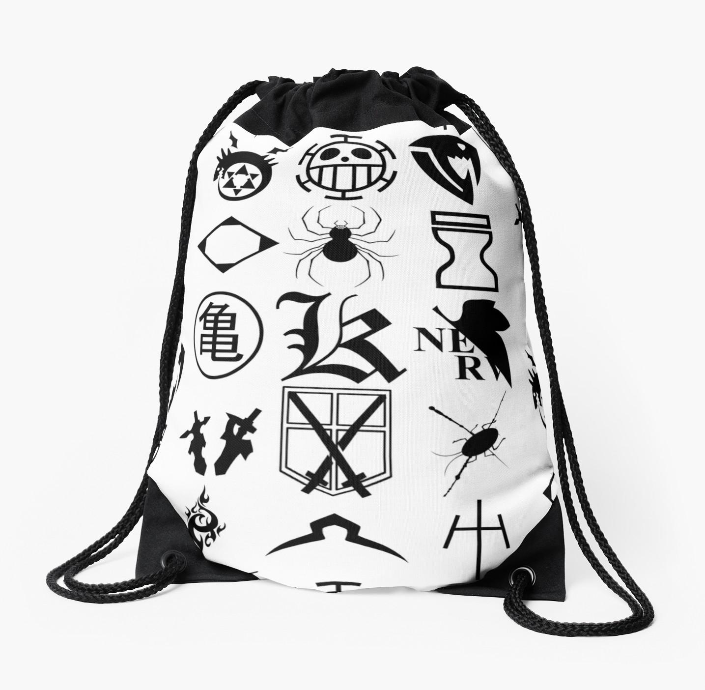 1435x1404 Anime Logos 2 Black Drawstring Bags By Yari27 Redbubble