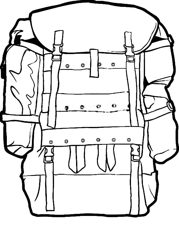 600x760 Military Camping Backpack Coloring Pages