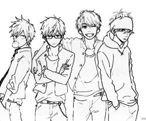 300x250 Anime Group Drawings