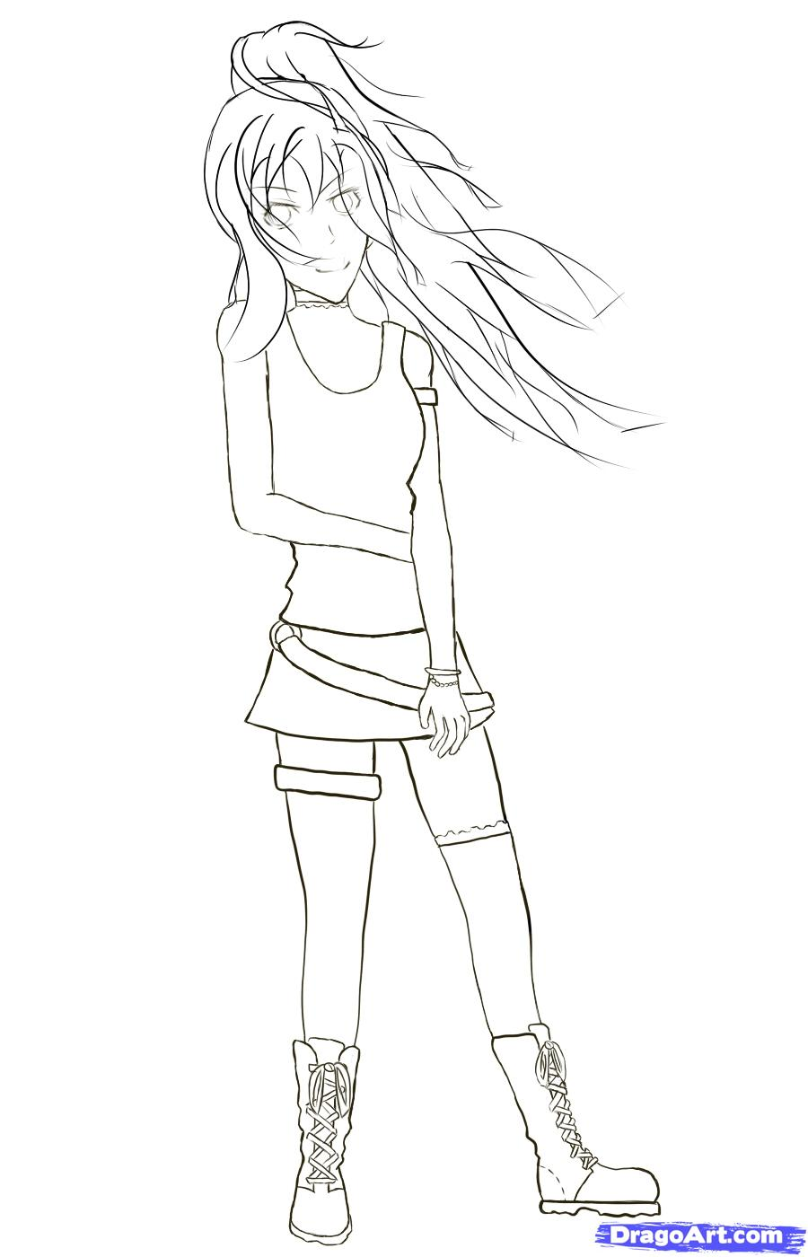 900x1400 Drawn Anime Outline Female