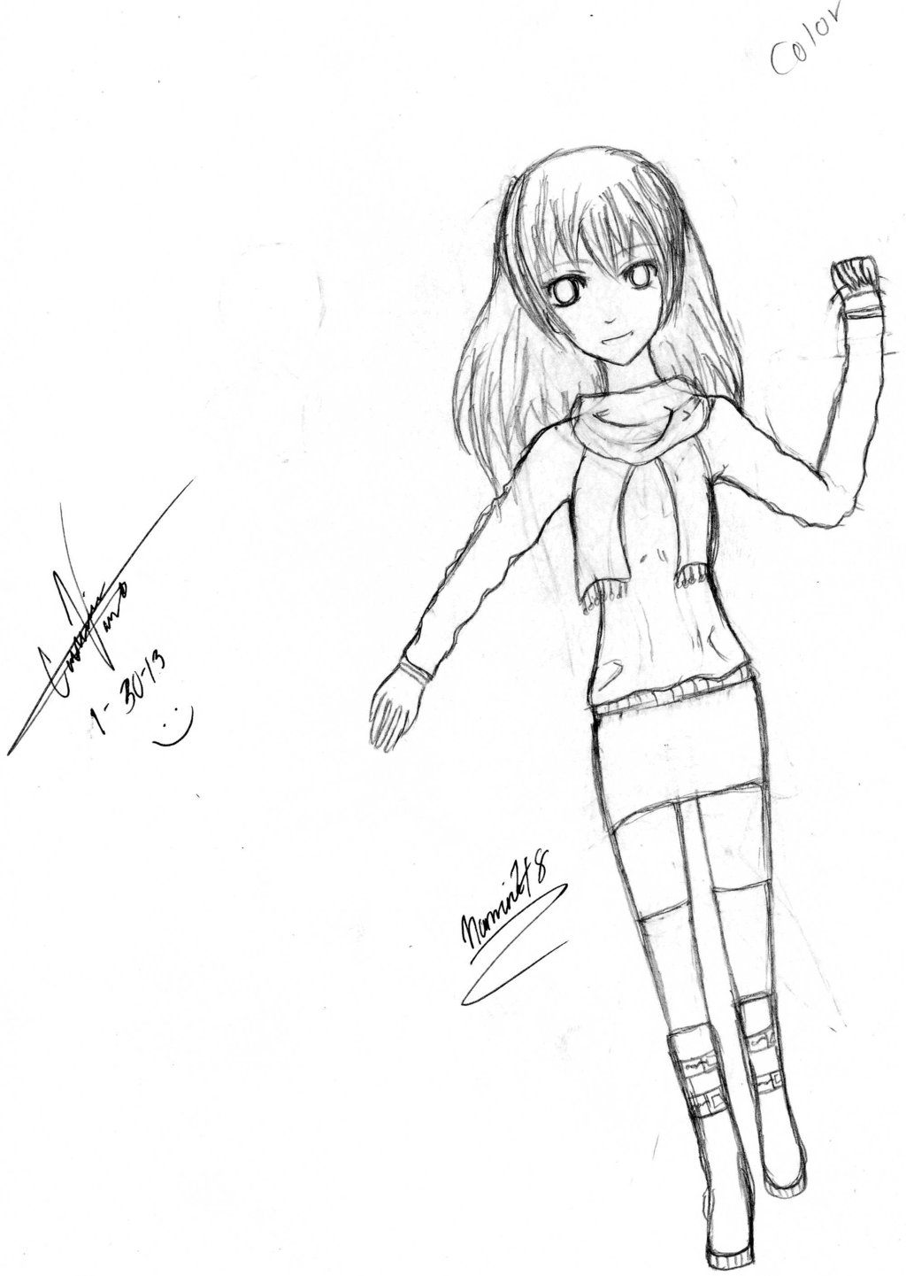 1024x1441 Step By Step Girl Full Body Sketch Doodle Of An Anime Girl (Full