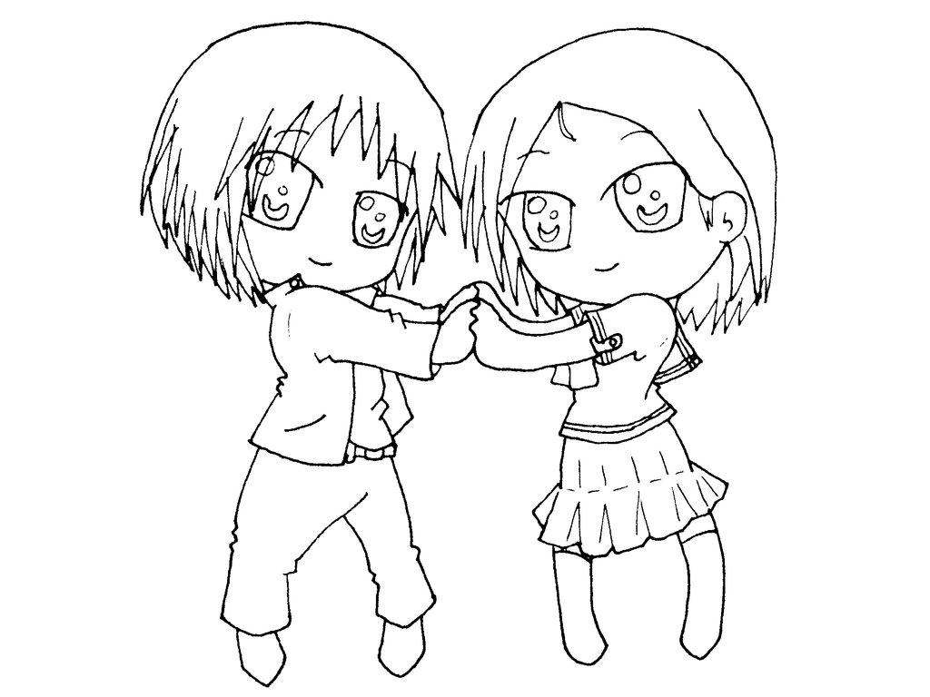 1024x768 Boy And Girl Chibi By Shinobitokobot